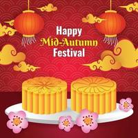 Happy Mid Autumn Festival with Mooncake Background Template vector
