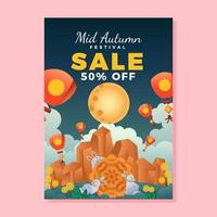 Special Sale Poster for Mid Autumn Festival vector