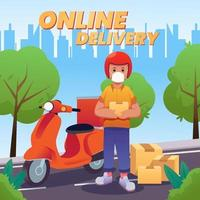 Online Delivery with Scooter and Health Protocol vector