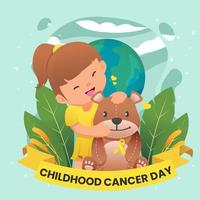 niña del día del cáncer infantil jugando muñeca oso vector
