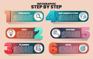 Infographic Step by step from Research to Goal vector