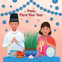 Parsi New Year Celebration with Mother and Father vector