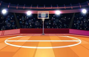 Basketball Court with Spectator and Lights vector