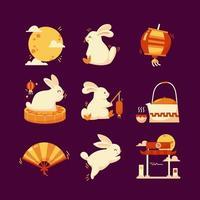 Mid Autumn Rabbit Icon vector