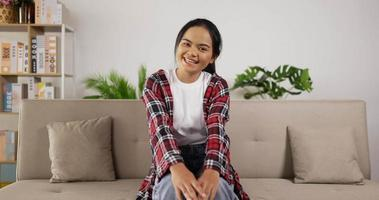 Girl Talking at Camera While Sitting on Couch video