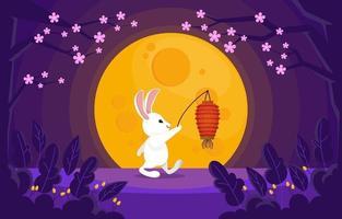 Rabbit With Lantern in Park vector
