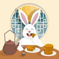 Rabbit Eating Mooncake with Tea vector