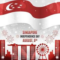 Singapore Independence Day with Landmark Silhouettes Composition vector