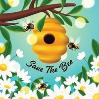 concepto de colmena de abejas que apoya la protección de las abejas vector