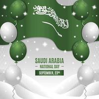 Saudi National Day with Flag and Balloons Composition vector
