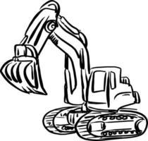 doodle excavator backhoe vector illustration