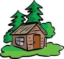 wooden cabin in the woods vector