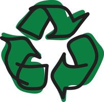 drawing green recycle vector illustration sketch hand drawn