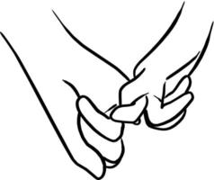 Close up at couple hands hook each other's little finger vector