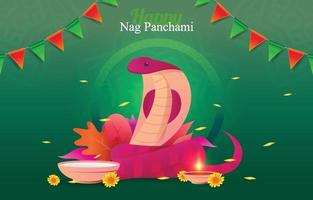 Nag Panchami with Cobra Snake vector