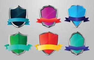 Set of Gradient Shield Logo Elements with Ribbon vector