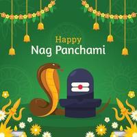Circling Snake On Nag Panchami Celebration vector