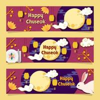 Korean Chuseok Mid Autumn Festival Banner Set vector