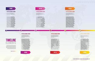 REVISE - Infographic Timeline with Dotted World Map as Background vector