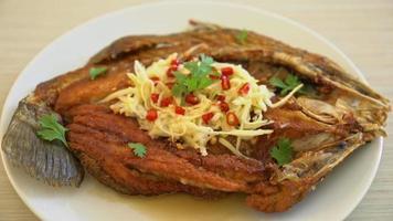 poisson de bar frit avec sauce de poisson et salade épicée video