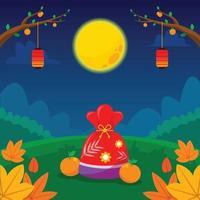 Full Moon Night On Mid Autumn Festival vector