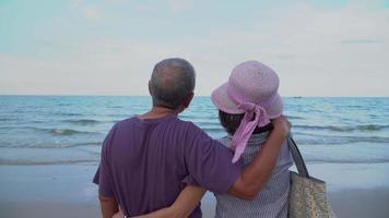 coppia sposata asiatica anziana che guarda il mare insieme durante le vacanze estive video