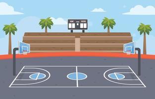 Outdoor Basketball Court vector
