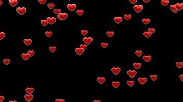 particule de coeur rouge tombant sur fond noir avec cache alpha. video