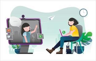 Two Girls in Virtual Meeting vector