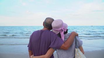 le coppie asiatiche senior godono della vista della spiaggia e del mare durante le vacanze estive video