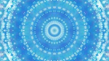 Abstract blue winter background kaleidoscope with snowflakes. video