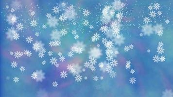 Abstract iridescent blue background with snowflakes. video