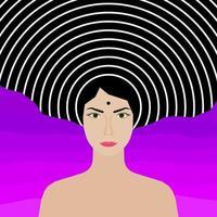 Abstract woman portrait. Adult beauty cartoon woman vector