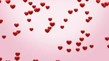 red heart particle falling on pink background. 3d animation . video