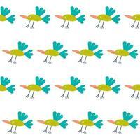 Childrens paper cut seamless pattern background. Bird design vector