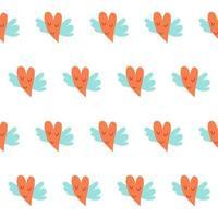 Childrens paper cut seamless pattern background. Heart design vector
