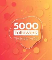 5000 seguidores, banner de vector para redes sociales.