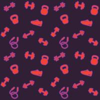 seamless pattern with gym icons, fitness background vector