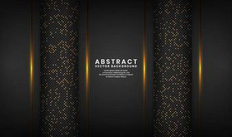 Abstract 3D black luxury background with glitter dots effect vector