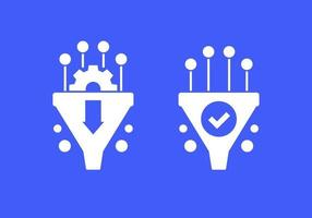 Conversion rate optimization vector icons with funnel