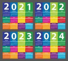 Calendar set 2021, 2022, 2023, 2024, starting from Sunday. Vector