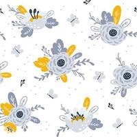 Seamless pattern with flowers. Design for fabric print. Vector