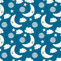Seamless pattern with cute moon, stars and clouds. Vector
