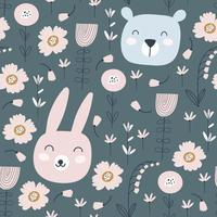 Seamless pattern with cute rabbit, bear and flowers. Vector