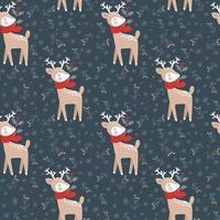 patrón sin fisuras con ciervos de Navidad. vector