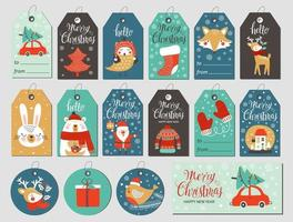 Set of merry christmas tags with hand drawing elements. Vector