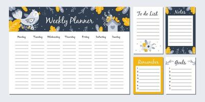 Weekly planner with cute birds. Vector