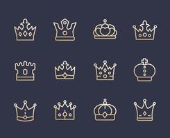 crowns line icons set, royalty, king, monarch, queen, princess coronet vector