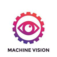 Machine vision icon, computer visual recognition system vector