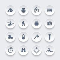 Hiking, camping, rafting, outdoor activities icons set, vector
